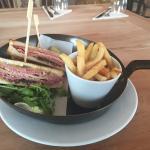 Deli sandwich and a burger