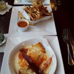 The Famous Hot Brown, shared, with truffle fries