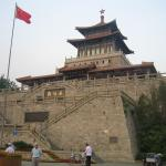 The Pavilion with the China flag fluttering in the air