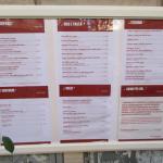 Il menù del ristorante-