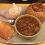 Garden Vegetable Soup in Bread Bowl with Chili