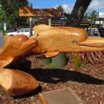 beautiful wood carving of the dolphins
