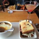 French onion soup & club with margarita