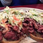 Open-faced pastrami on rye