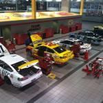 Inside the garage area of the shop, taken from the balcony sky walk