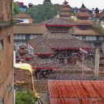 Aussicht von der Dachterrasse auf die Tempel