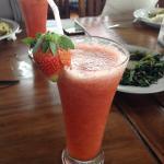 Fresh strawberry juice.