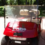 new red golf cart for shuttle or rent