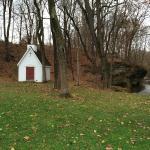 Chapel, rocks, and creek.