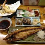 夕・朝食付プランにセットの夕食(天ぷらと刺身はちょっと食べてます)