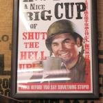 An interesting poster up the wall behind the coffee and tea counter.