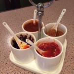 Sauces on each table.