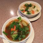 Tom yum and tom kha - both vegetarian
