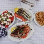 Mackerel-Squid-Greek salad