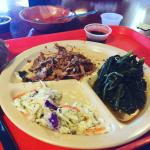 Pulled pork (without the bun)c collards, slaw