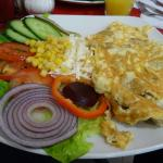Cheese & Ham omelet and Salad