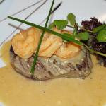 Steak with King Prawns at Franco's