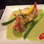 King prawns green curry, asparagus, butternut squash