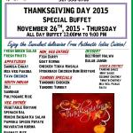 ThanksGiving Buffet 2015 November 26th Thursday All Day