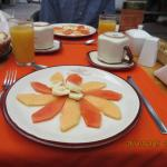 Fruit plate at breakfast