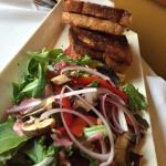 Grilled Apple Goat sandwich and salad