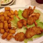 Fried shrimp and tater tots