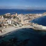 Playa Galúa aérea- La Manga del Mar Menor-Cartagena