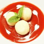 Cottage cheese dumplings with marzipan, strawberry and mascarpone soup