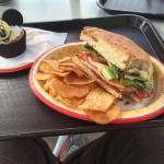 Hot Italian Sandwich w/ chips, Mickey cupcake