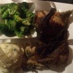 Rotisserie chicken, broccoli, and mashers