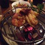 Tea smoked prawns