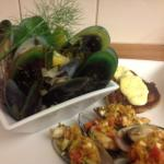 Marlborough Sounds green lipped mussels presented steamed, grilled and fritter form