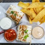 Steak Burrito with nachos