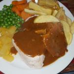 Chicken, bacon& haggis with chips, veg and peppercorn sauce