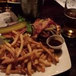Guinness Burger (Deluxe) with bison patty and fries