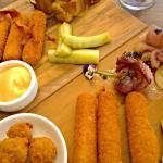 Taster platter + bbq'd baby octopus