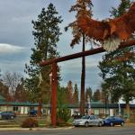 Motel exterior, perfectly situated for both town and highway access