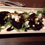 Beet salad with goat cheese and pistachios