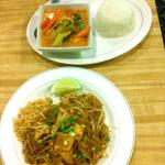 Yellow curry with pork and Pad Thai with chicken