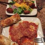 Ravioli and chicken salad.