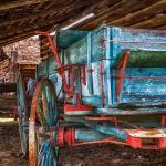 Wagon inside one of the old barns, HDR photo