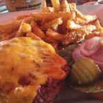 Cheeseburger & garlic fries $11.75