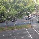 Cyclers parade in front of the park