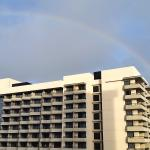 The daily rainbow over the north tower as seen from the 6th floor balcony.