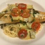 Fresh Bronzini over angelhair pasta, one of our weekend specials.