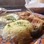 Chicken Shawarma Plate with Rice and toum (Garlic sauce)