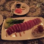 Ahi tuna and the salad condiments
