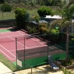 Tennis court and view from back balconies