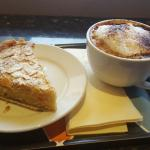 almond cake and cappuccino at Spill the Beans