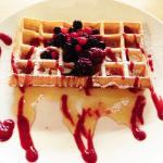 Waffle with berries and honey